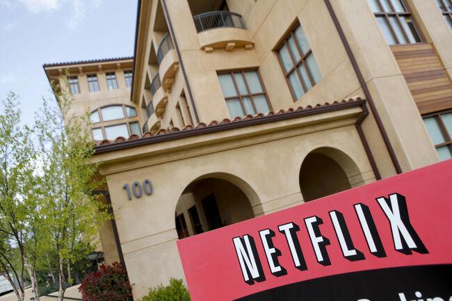 The Netflix company logo is seen at Netf