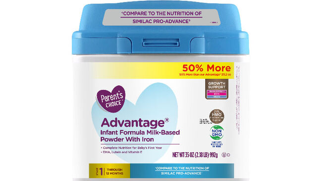 Parent's Choice Advantage Infant Formula Milk-Based Powder with Iron