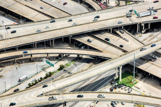 Urban Freeway Interchange Aerial