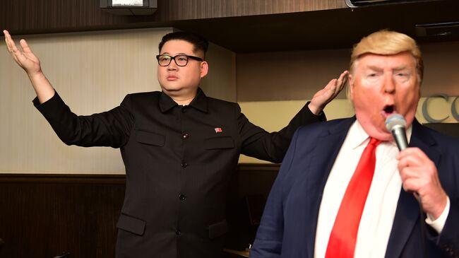 Trump & Kim Jong Un impersonators perform in Osaka during G20