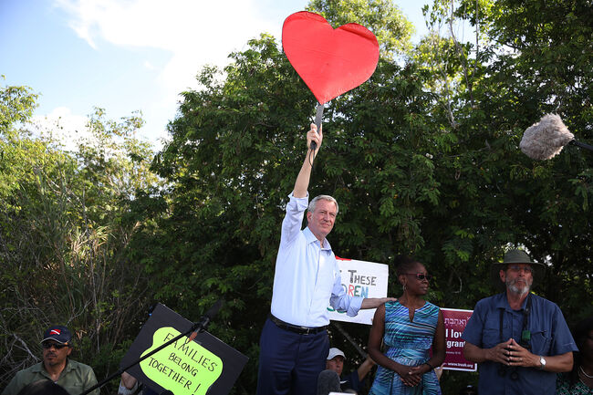 Democratic Presidential Candidate NYC Mayor Bill De Blasio Visits Homestead Facility Where Migrant Children Are Being Held