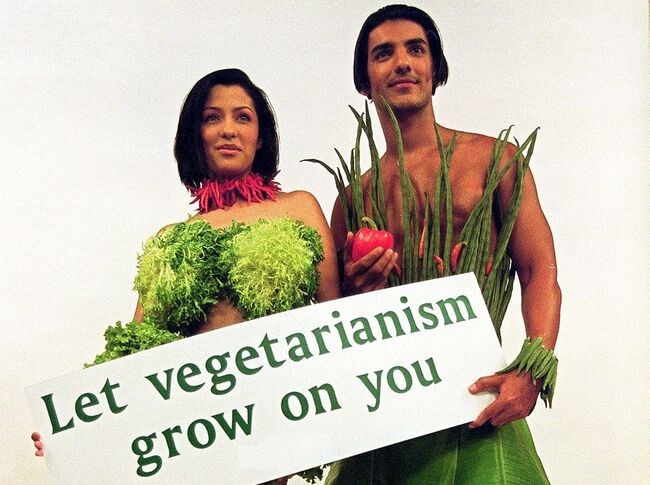 Indian models dressed in outfits made of vegetable