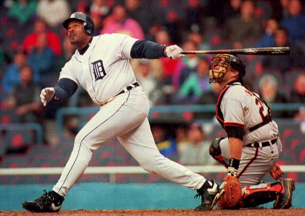 Detroit Tigers' Cecil Fielder (L) and Baltimore Or