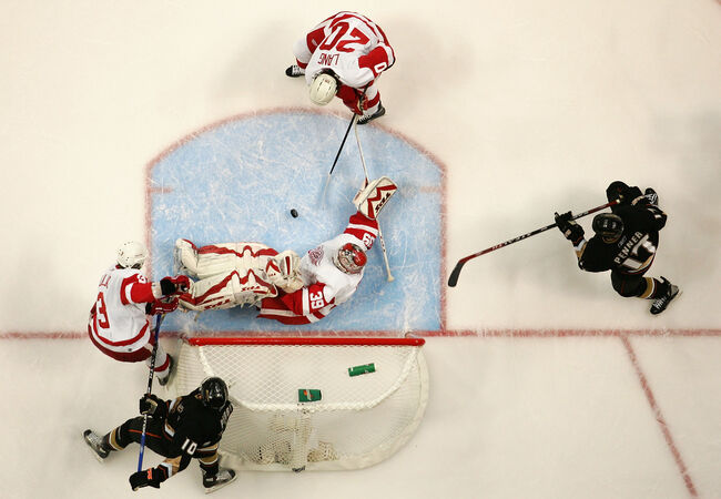 Getty - Dominik Hasek playing for the Detroit Red Wings v Anaheim Ducks
