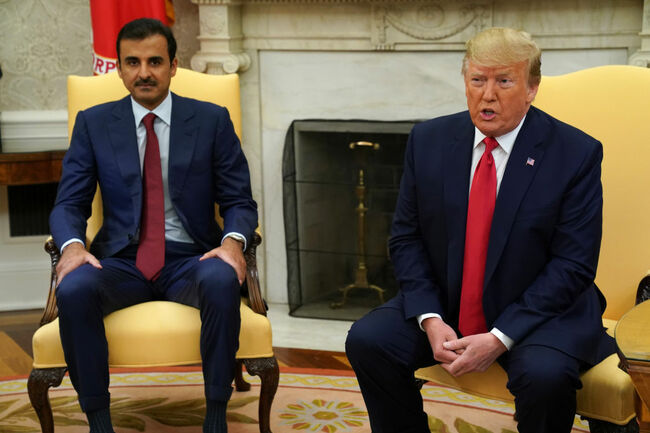 President Donald Trump Welcomes Qatar's Emir Sheikh Tamim Bin-Hamad Al-Thani To The White House