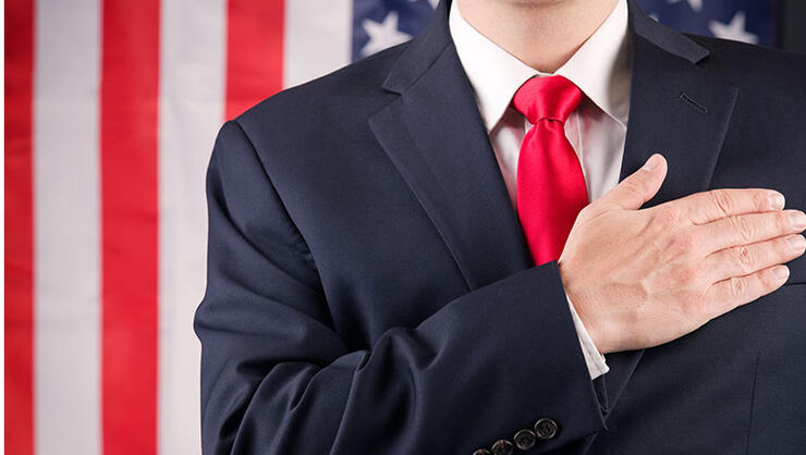American Leader With Hand On Heart