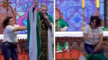 Qui West - Woman Throws A Priest Off Stage During Charity Mass!