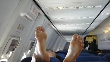 Leigh Ann and Jeremy - Man Scrolls Through In-Flight Entertainment System…With His Feet!