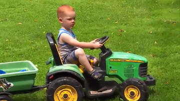 National News - Toddler Drives His Battery-Powered Toy Tractor To County Fair