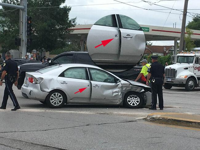 Des Moines Police say 3 car crash, car shot, by unexpected felon PHOTOS