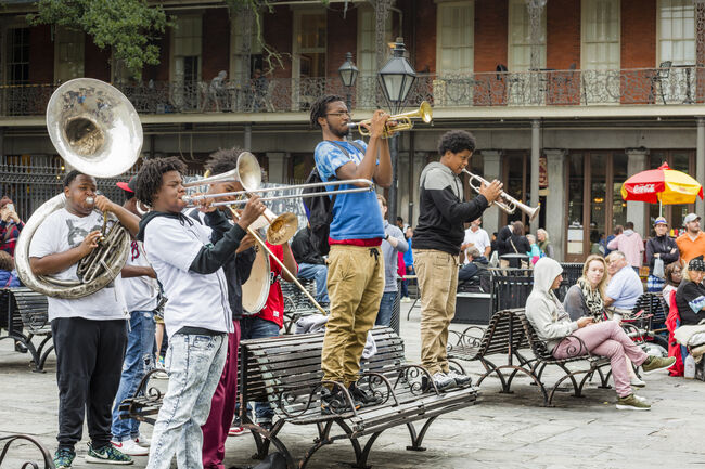 Jazz Musicians Busk in Jackson Square, New Orleans