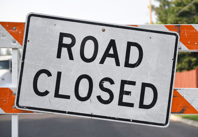 Road Closed Sign Close-Up