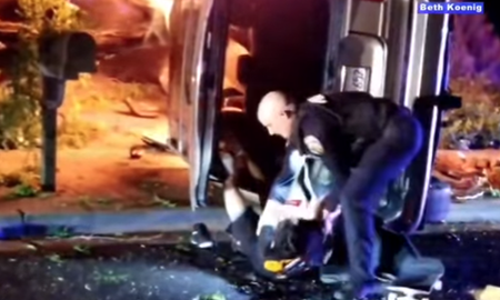 National News - Fremont Police Officer Seen Pulling Driver From Burning Vehicle