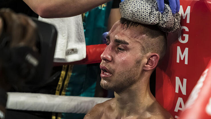 Maxim Dadashev receives attention in his corner after his corner threw in the towel following the eleventh round of his junior welterweight IBF World Title Elimination fight against Subriel Matias (not pictured) at The Theater at MGM National Harbor on July 19, 2019 in Oxon Hill, Maryland. (Photo by Scott Taetsch/Getty Images)