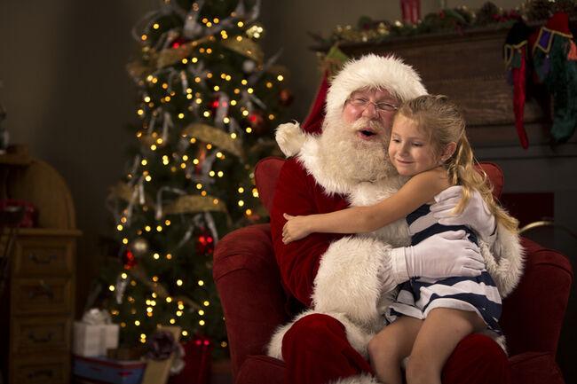 Santa Claus hugging a child