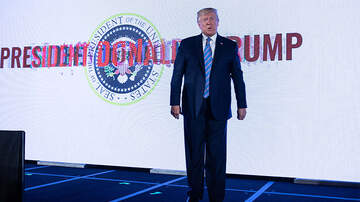 Politics - President Trump Delivers Speech In Front Doctored Presidential Seal