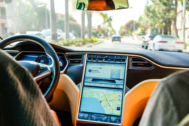 Cockpit of Tesla Model S car