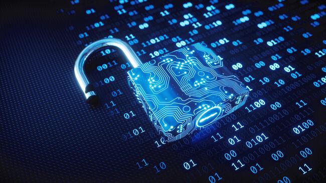 Blue circuitry digital lock on binary code