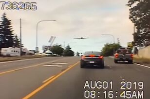 Cop Car Camera Catches Plane Making Emergency Landing