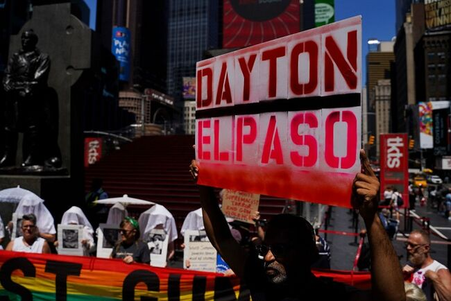 Protestors March Against Gun Violence In NYC After  Two Mass Shootings