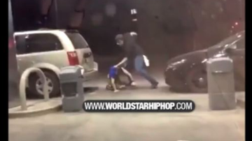 Qui West - Guy Gets Jumped For Hitting His Girlfriend At A Gas Station!