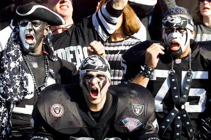 Oakland Raiders fans cheer in the stands during th