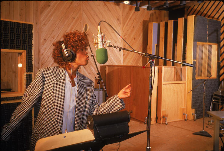 Singer Whitney Houston in recording studio