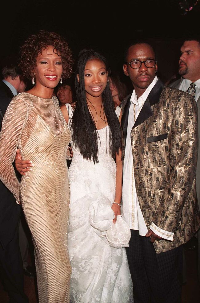 10/13/97 Hollywood, CA. Whitney Houston, Brandy and Bobby Brown at the premiere of the all new versi