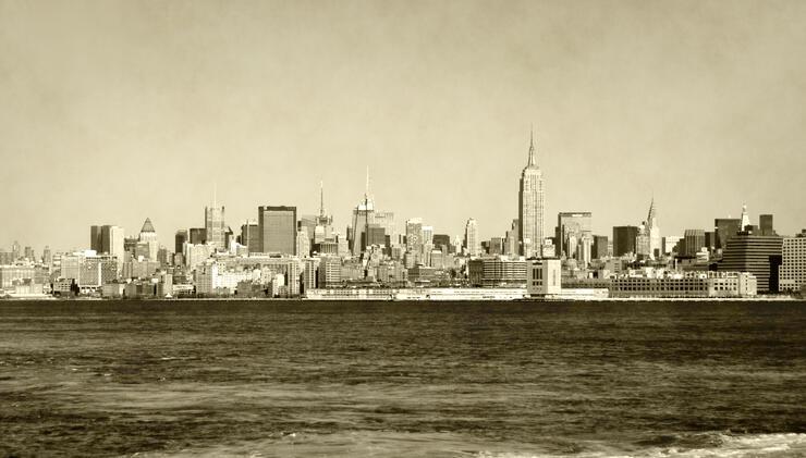 Retro New York City skyline