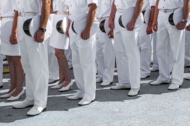 Low Section Of Naval Officers Standing On Ground During Event