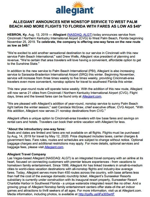 Allegiant announces new non- stop service to West Palm Beach