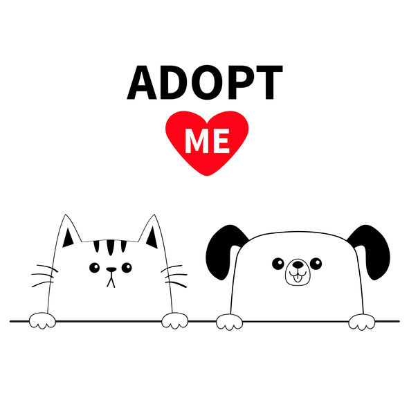 Cat dog head face set. Hands paw holding line. Adopt me. Help homeless animal Pet adoption. Red heart. Cute cartoon kitty puppy character. Funny baby kitten pooch. Flat design. White background