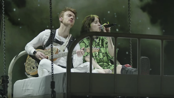 Billie Eilish And Her Brother Float In A Bed During 'I Love You' Live Video   iHeartRadio