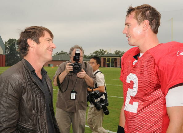 """""""The Express"""" Star Dennis Quaid Reports For Practice At Atlanta Falcons Training Camp"""