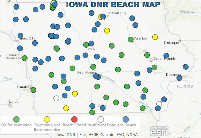 Swimming not advised at some beaches due to bacteria: IOWA BEACH MAP