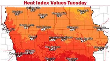 WHO Radio News - Blast of summer heatwave for Iowa this week HEAT INDEX MAP