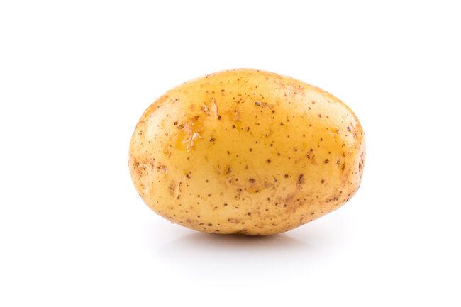 Fresh raw potato on white background