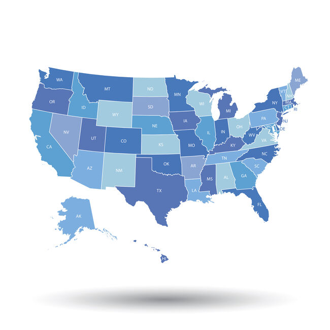 High detailed USA map with federal states. Vector illustration United states of America in blue color.