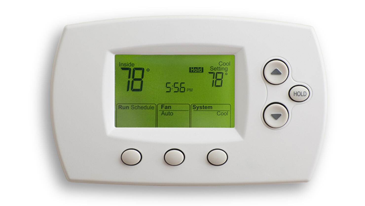 Digital thermostat on 78 degrees