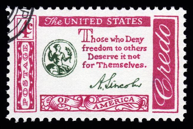 USA Credo Postage Stamp Abraham Lincoln Quotation