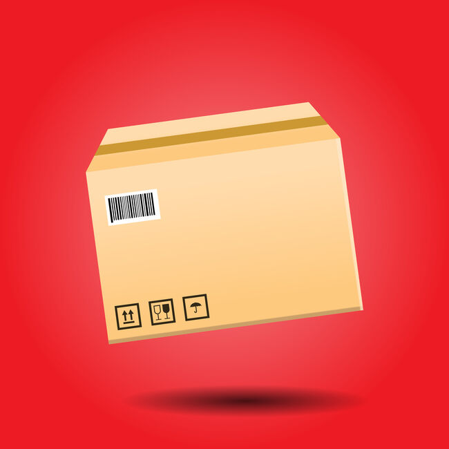 isolated package box flying with shadow in red background