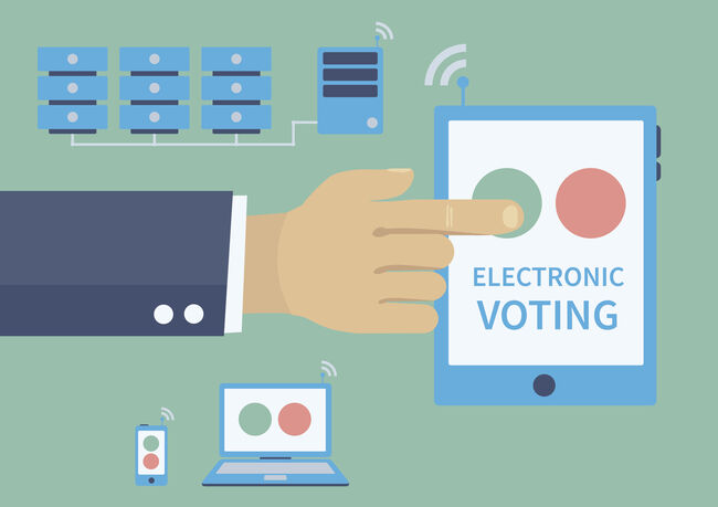 Electronic voting, politics and elections illustration concept