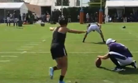 Sports Top Stories - World Cup Champ Carli Lloyd Drills 55-Yard Field Goal During NFL Practice
