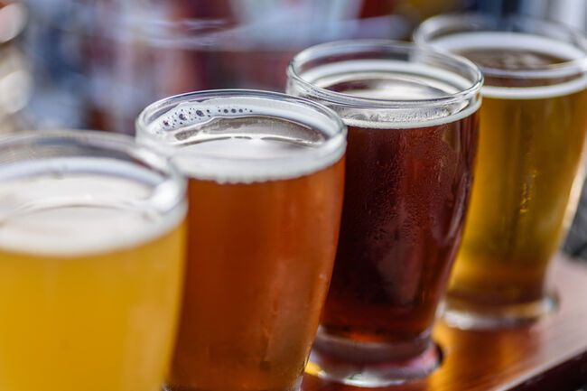 Close-Up Of Beer In Glasses