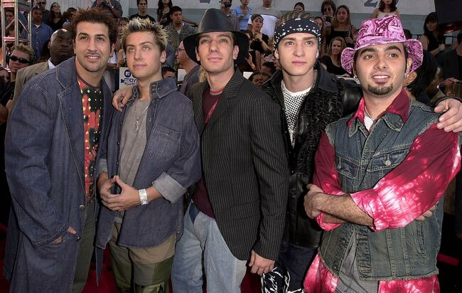 US pop group NSYNC (L-R) Joey, Lance, JC, Justin,