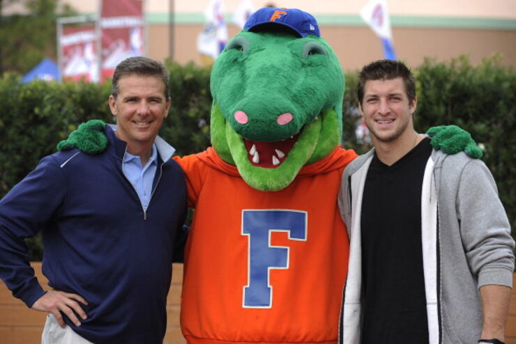 Tim Tebow And Urban Meyer At ESPN The Weekend At Walt Disney World