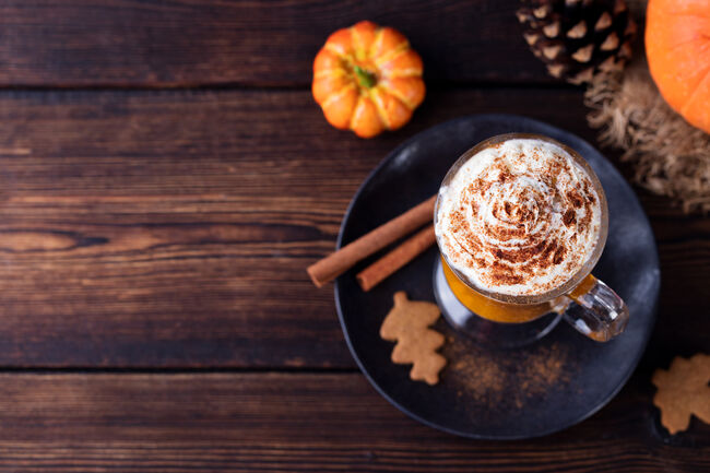 Pumpkin smoothie, spice latte. Boozy cocktail Top view