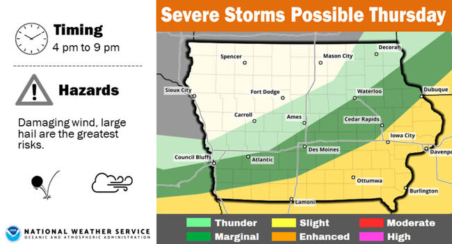 Severe Storms possible in Iowa Thursday STORM MAP | 1040 WHO