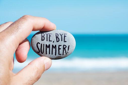 Bye Bye Summer painted rock