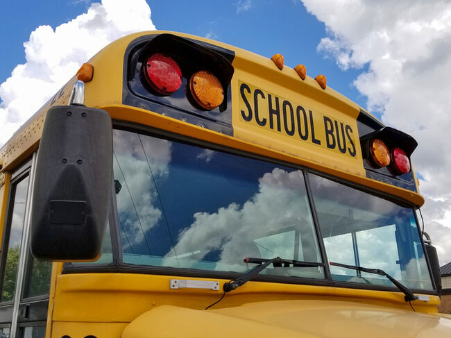 frontal view of yellow school bus